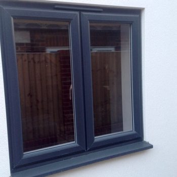 Anthracite grey uPVC casement window residential installation