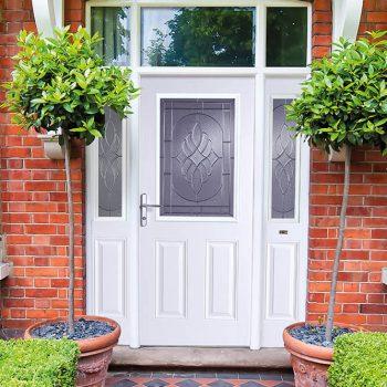 Grey composite door with side panels