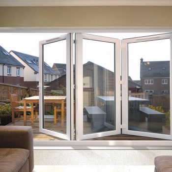 Half open White uPVC bifold door