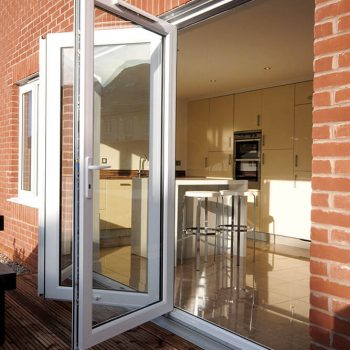 Open White uPVC bifold door