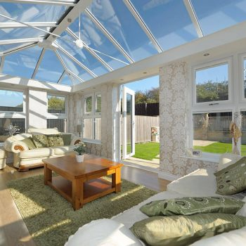 uPVC white orangery interior with roof lantern