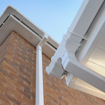 Close up of white uPVC guttering