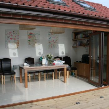 Bifolding door installed within new extension