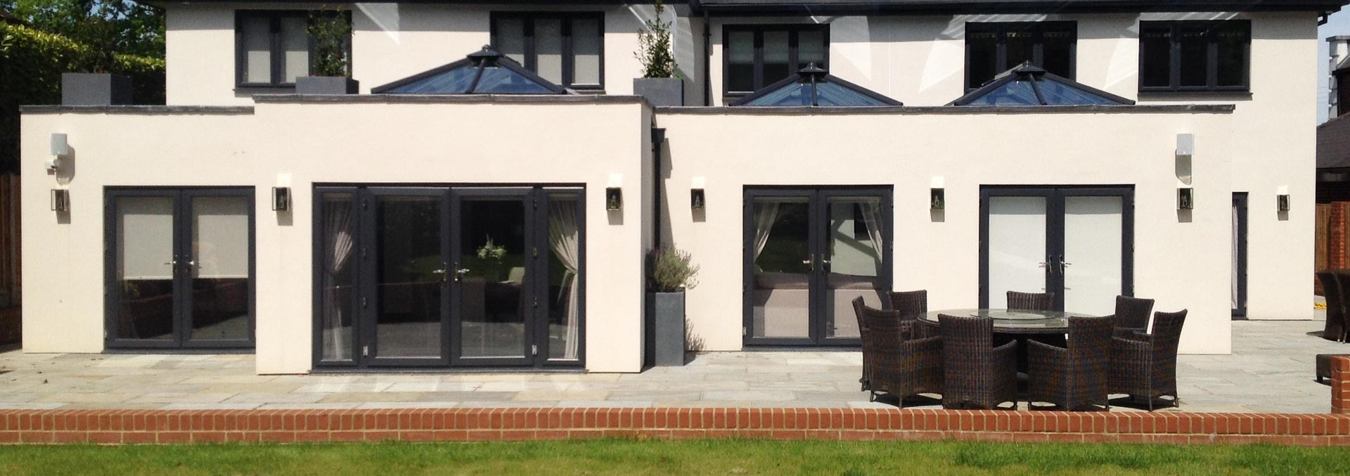 Black uPVC french doors and windows