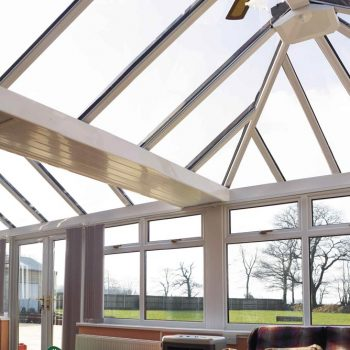 Combination conservatory with glass roof internal view