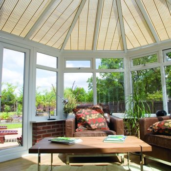 Victorian style conservatory with roof blinds