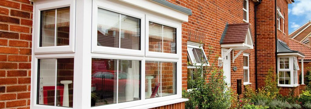 Windows in white uPVC in bay configuration which utilise double glazing