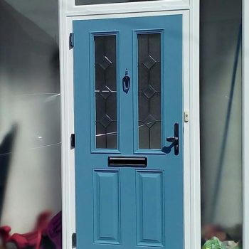 Duck egg blue composite door with black hardware