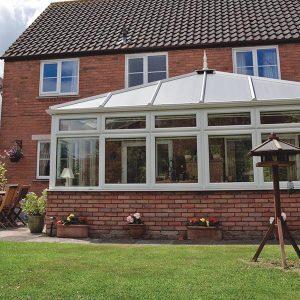 Edwardian style conservatory with brick base
