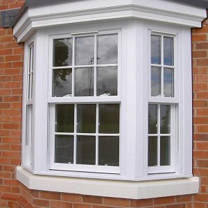 White upvc vertical sliding sash window