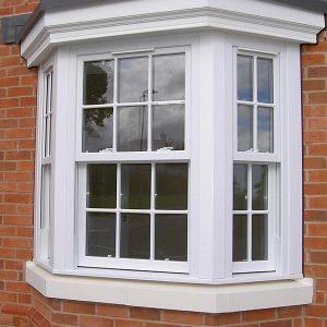 White upvc vertical sliding sash window