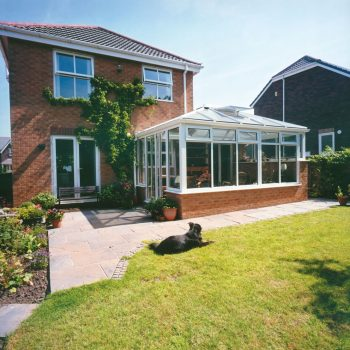 Edwardian style conservatory with PVCu windows and doors and brick base