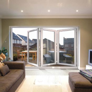 White uPVC bifolding door with energy efficient glass panels