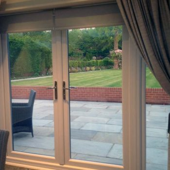Internal view of uPVC french doors