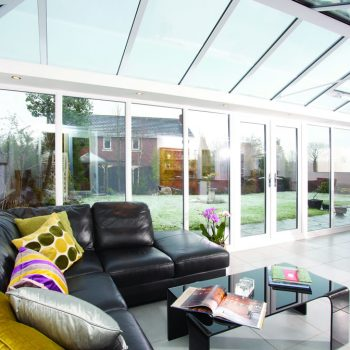 Large glass conservatory internal view