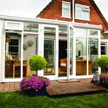 Lean to style conservatory with full upvc frame and french doors