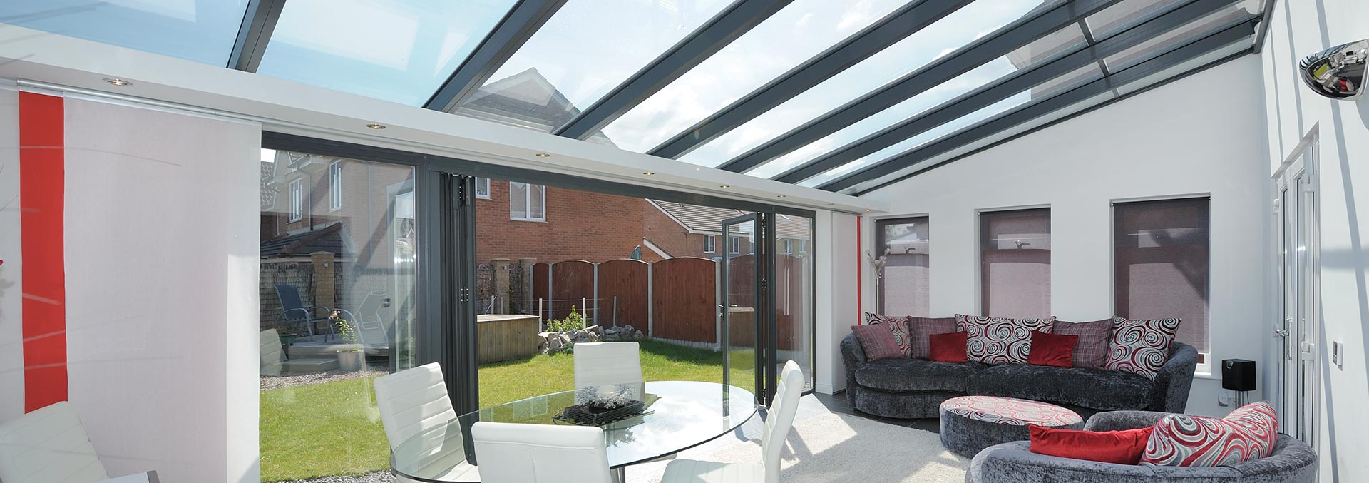 Lean to style uPVC conservatory with bifolding doors
