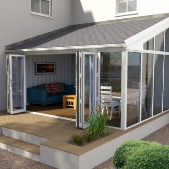 Lean-to style conservatory with tiled roof - design render image