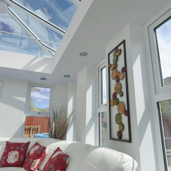 Modern orangery extension internal view with glazed roof