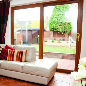 Brown sliding patio doors