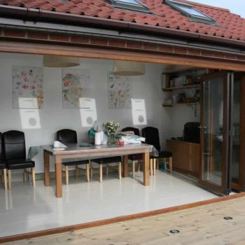 Sliding folding doors open fully