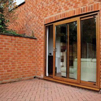 Brown sliding patio door