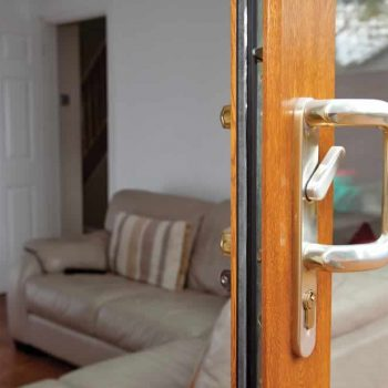 sliding patio door close up on the secure locking system