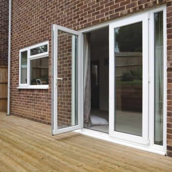 Open white uPVC french door and casement window
