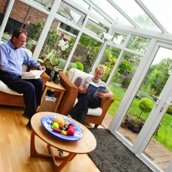 White uPVC lean to conservatory interior view