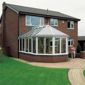 White uPVC victorian conservatory with french doors