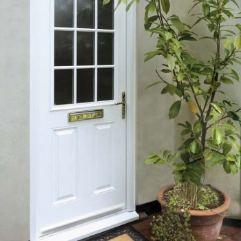 White composite door with georgian bar detail