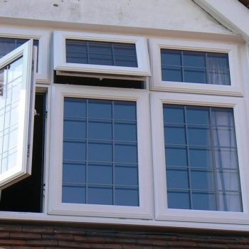 White windows with lead detail