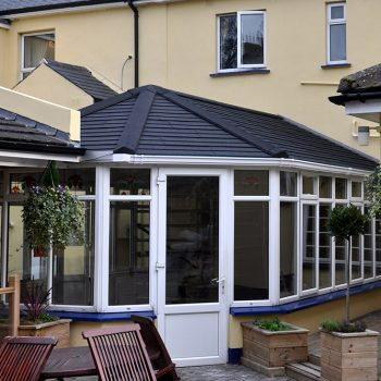 Grey tiled warmroof on a uPVC conservatory